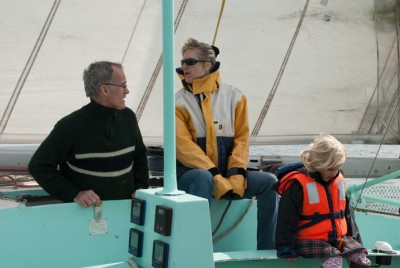 Madadh MacLaine and Alain Guillard sailing