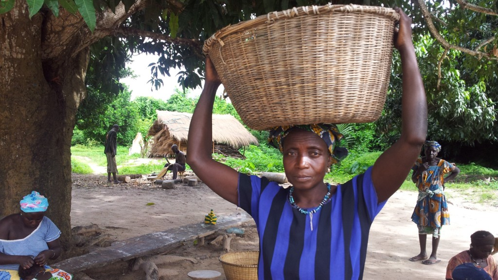 Guinea-Bissau woman carrying nuts